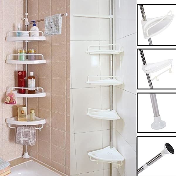New Bathroom Bathtub Shower Caddy Holder Corner Rack Shelf Organizer Accessory