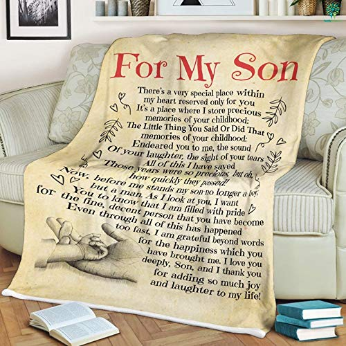 to My Son Blanket from Mom Letter to My Son Blanket Velveteen Plush/Sherpa Fleece Blanket 30x40, 50x60, 60x80