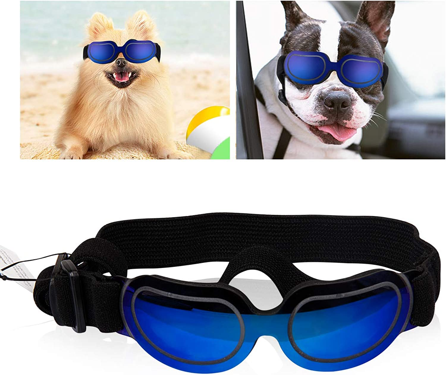 Cavetee Stylish and Fun Small Dog Sunglasses  Dog Goggles for UV Predection Sunglasses Windproof  Adjustable Sunglasses for Puppy Doggy Cat