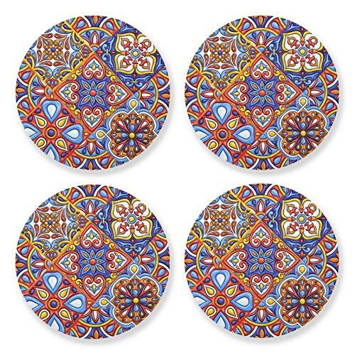 xigua 4 posavasos redondos para bebidas, resistentes al calor, con base de corcho ligero para mesa, tapete protector para tazas, azulejo popular de Talavera mexicano