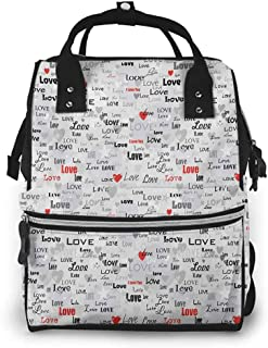 Diaper Bag Backpack Nappy Changing Bag Valentines Different Stylized I Love You Quotes on Grey Backdrop with Hearts Anti-Water Maternity Nappy Bags Changing Bags