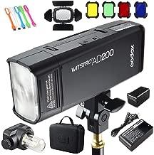 Godox AD200 200Ws 2.4G TTL Speedlite Flash Strobe 1/8000 HSS Monolight, 2900mAh Lithium Battery with BD-07 Barn Door & Honeycomb Grid and 4 Color Gel Filters