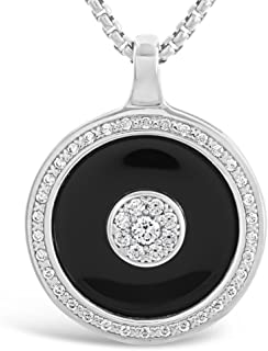 Heart Diamond Necklaces, long, Black or White and Silver, CZ Round Sterling Silver Pendant Necklaces for Women - Stylish, Unique, Premium Quality Jewelry and Accessories for Females