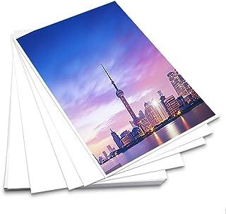 BUYGOO 20 Pcs Papel Fotográfico A4 Brillante Universal 29.7 x 21 cm Papel Impresora de Fotos Adhesivo