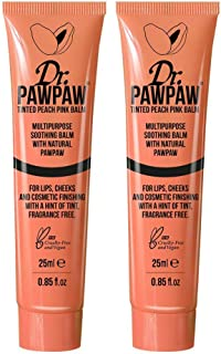 Dr. PAWPAW Tinted Peach Pink Balm, Multi-Purpose Balm, For Lips, Cheeks & Other Cosmetic Finishing, 2 x 25ml Duo Pack