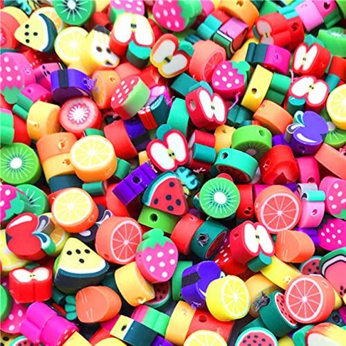 30 unids / lote, cuentas de fruta de 10mm, cuentas de arcilla polimérica, cuentas espaciadoras de arcilla polimérica de colores mezclados para hacer joyas, collar de pulsera DIY-16