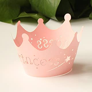 24pcs Pink Princess Crown Cupcake Wrappers Cases Wedding Christening Baby Girl Shower Party Cake Decoration