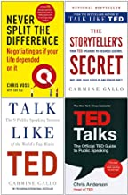 Never Split The Difference, The Storyteller's Secret [Hardcover], Talk Like TED, TED Talks 4 Books Collection Set