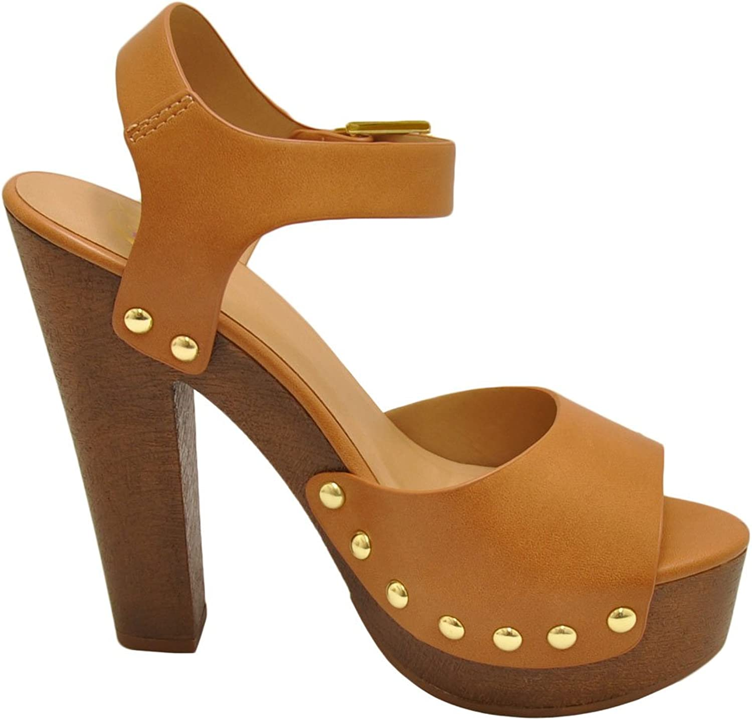Delicious Mally S Women's Studded Open Toe Chunky Heels