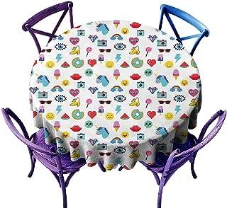 All of better Emoji Tablecloth Durable Pop Art Style Cartoon Icons Unicorn Watermelon Banana Pixel Heart Thunder Bolt Eye Multicolor Jacquard Tablecloth D 70