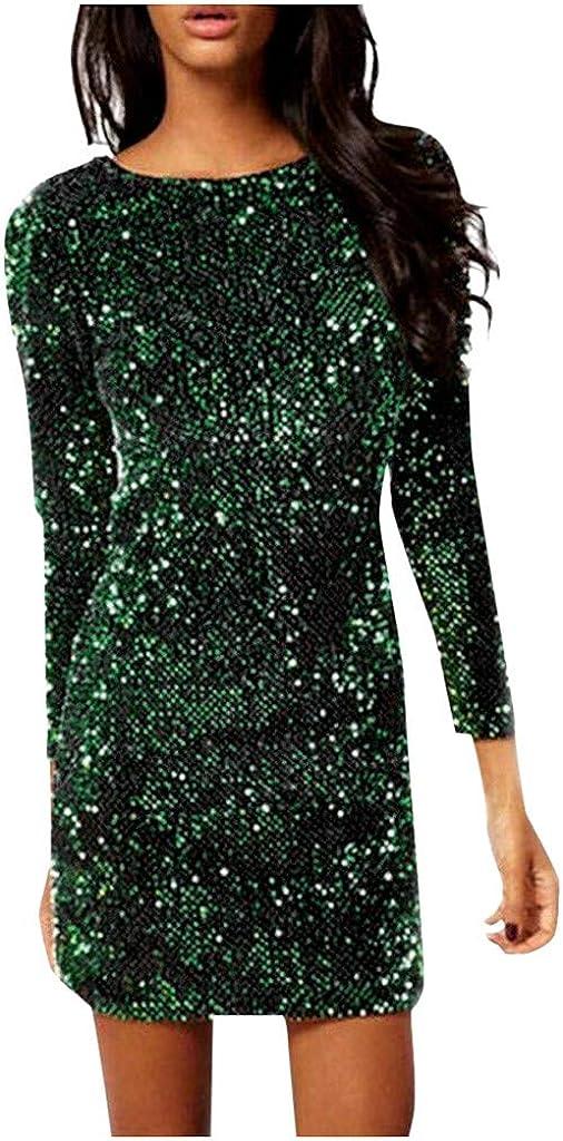 Sayhi Women's V Back Long Sleeve Dress Sequin Glitter Slim Party Mini Dress Party Club Dresses