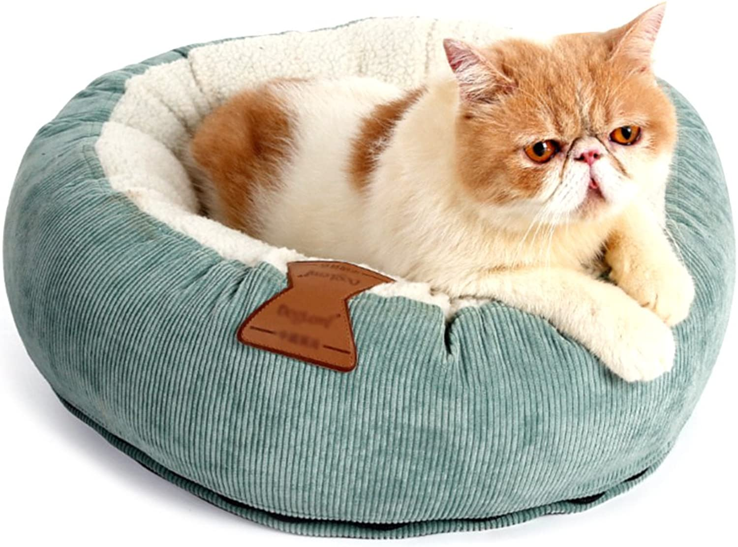 Cat Kennel Bed Pet Indoor Soft Bed Comfortable House Puppy Winter Warm Room Small Animal Litter Dog Home Round Donut Cushion Donut Accessories (Green)