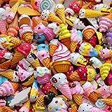 sortiert 30 Stück Cute Candy Perlen Fruit Dessert Eis Kunstharz Charms Scheiben Flache Tasten für Handwerk Zubehör Scrapbooking Telefon Fall Decor, ice cream, 10mm-25mm