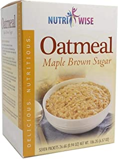 NutriWise - Maple Brown Oatmeal | Healthy Nutritious Diet | High Protein, Low Carb, Low Calorie, Sugar Free, Fat Free (7/Box)