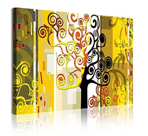 DekoArte 304 - Cuadros Modernos Impresión de Imagen Artística Digitalizada   Lienzo Decorativo Para Salón o Dormitorio   Estilo Abstractos Árbol de la Vida Gustav Klimt Amarillos   1 Pieza 120x80cm
