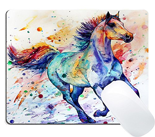 Wknoon Gaming Mouse Pad Custom Design Mat, Watercolor Running Horse Painting Art