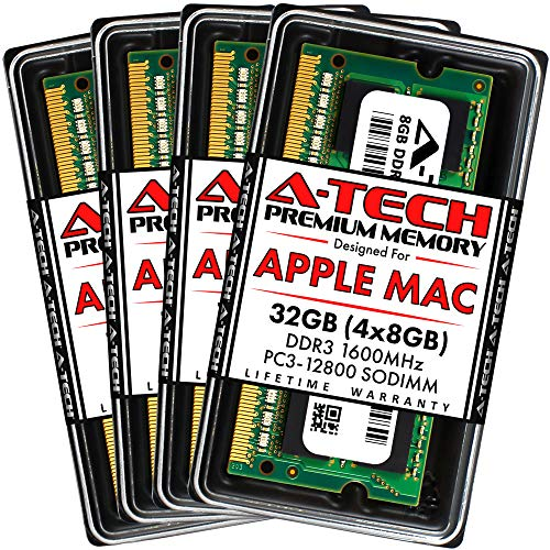 A-Tech 32GB (4x8GB) RAM for iMac (Late 2012, Late 2013, Late 2014, Mid 2015)   DDR3 1600MHz PC3-12800 2Rx8 204-Pin SODIMM Memory Upgrade Kit