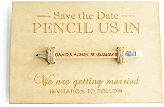 Pencil Us in Save The Date Card, Personalised Wedding Invitations with Pencils and Envelope,Wedding Tag (50)