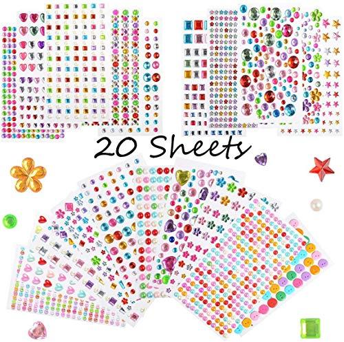 Glitzersteine Selbstklebend, 20 Blätter Strass Sticker, 3000 Stück Schmucksteine Selbstklebend, Aufkleber Kinder, Sticker Frauen, Aufkleben und Gestalten für Handwerk, Make-up, Nägel, Fotorahmen