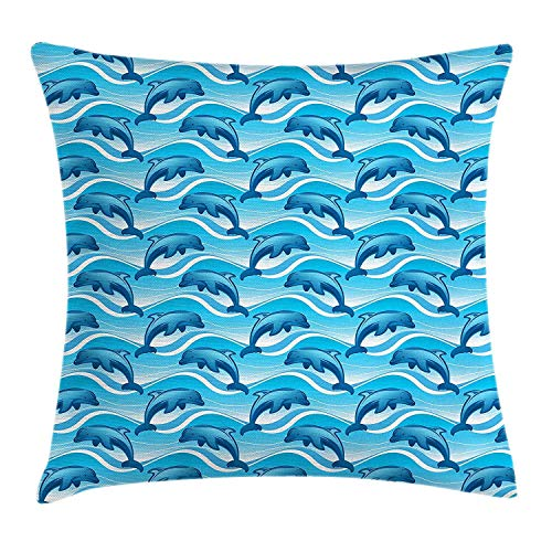 LOPEZ KENT Dolphin Throw Pillow Cushion Cover, Dolphin Illustration Jumping Waves with Large Mammal Friendly Ocean Animal, Decorative Square Accent Pillow Case, 18 X 18 Inches, Azure Blue White