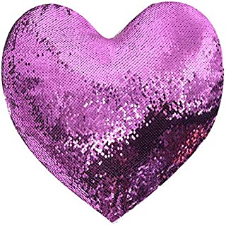 4 Pack Sublimation Blank Pillow Case Heart Shape Covers 18inx14in Reversible Sequin Magic Swipe Pillow Cases with Zipper for Couch Sofa Bed Decorative Cushion Cover