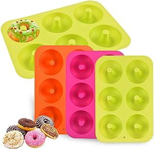 MEISO Coque en silicone en forme de donut Moules Lot de 3 6 Cavités Safe machine à plaque de cuisson anti-adhésif résistan...