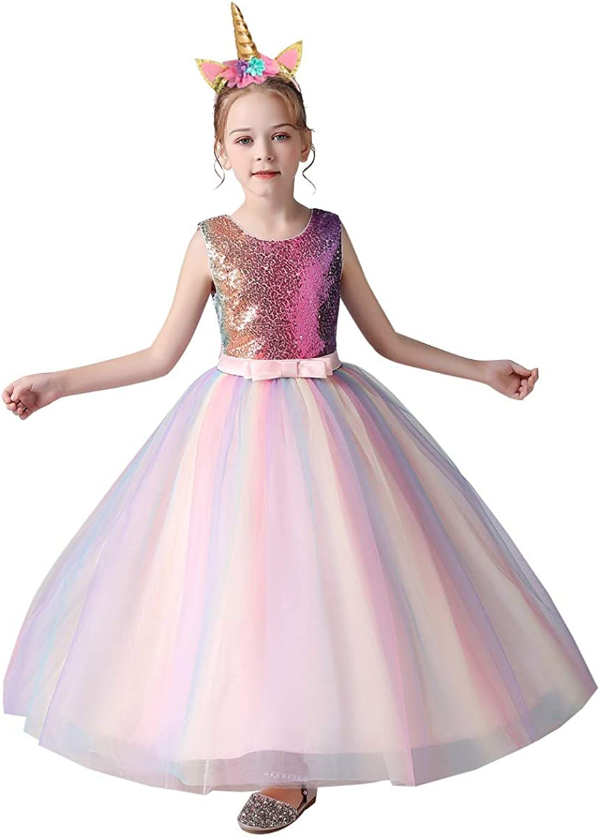 HOIZOSG Girls Unicorn Rainbow Tulle Dress Hall Princess Columbus Mall Complete Free Shipping Birthday
