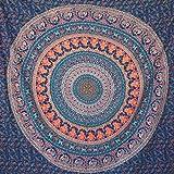 momomus Arazzo Mandala - Indiano - 100% Cotone, Grande, Multiuso - Arazzi da parete grandi - Stampe / Arredamento / Decorazioni per la Casa, Camera da letto o Muro - Telo Xxl, Blu A, 210x230 cm
