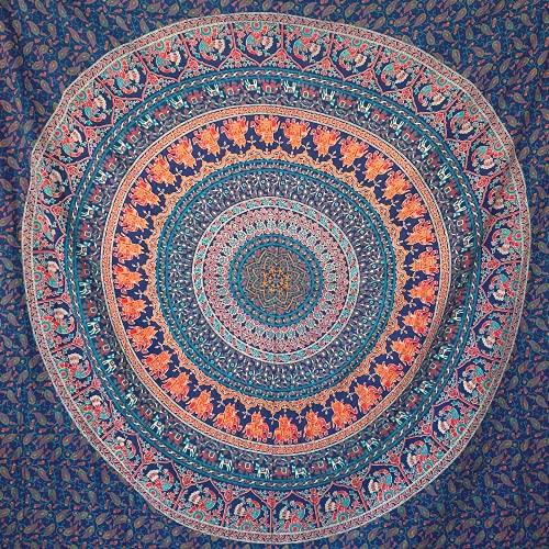 MOMOMUS Tapiz Mandala Indio - 100% Algodón, Grande, Multiuso - Tapices de Pared Decorativos Ideales para la Decoración del Hogar, Habitación o Salón - Azul A, 210x230 cm