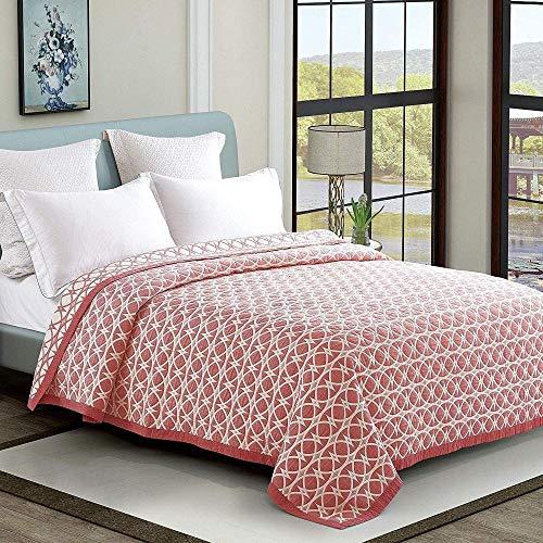 HUIQ Gesteppte Tagesdecken Single Indian Brown und Red Patchwork Sofa Throws Soft Polyester Leichte Vintage Style Style Bohemian Bed Throws Decken 150x200 cm-200 * 230 cm_Geometrisch