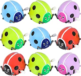Flipping Wind Up Lady Bugs (Pack of 12) in Assorted Bright Colors, Runs,Rotates, and Flips,Party Bag Filler for Kids