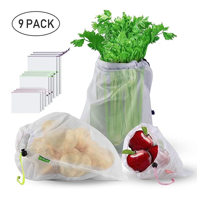 Earthwise Environmentally friendly shopping bags, reusable vegetable bags, washable shopping bags durably robust double sewn vegetable network with Tara for shopping fruit vegetables Zero Waste