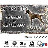 Pets-Easy.com Pancarte Attention au Chien personnalisée Chiot Boxer - pré percée et vis fournies. De 30 cm à 15 cm…