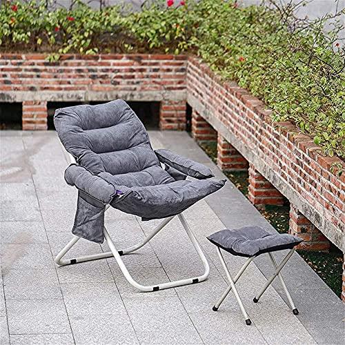 Leichte Liegestühle mit Fußschemel Hohe Rückenlehne Verstellbarer Klappsessel Sessel Wildleder Garden Lounge Chair für Indoor Outdoor Camping (Farbe: Grau)