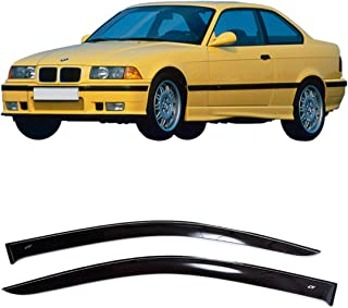 CT Wind Visor Deflectors Set of 2-Piece - Car Ventvisor Door Side -Window Air Guard Deflectors for Protection Against Snow Sun and Rain Compatible with BMW 3 Coupe E36 1991-1999 - Dark Smoke