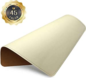 PU Leather Mouse Pad with Stitched Edge Micro-Fiber Base with Non-Slip, Waterproof, Mouse Pad for Computers, Laptop, Office & Home,1 Pack, 8inch11inch (Apricot)