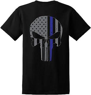 GunShowTees Men`s Blue Lives Matter/Skull American Flag Thin Blue Line Shirt