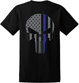 Men's Blue Lives Matter/Skull American Flag Thin Blue Line Shirt