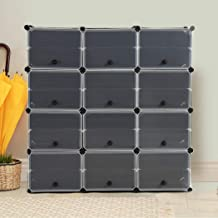 Cube Cabinet Shoe Storage Cabinet Organiser Shelf Stackable DIY 8 Tier 3 Column 3 Column 8 Row-Black