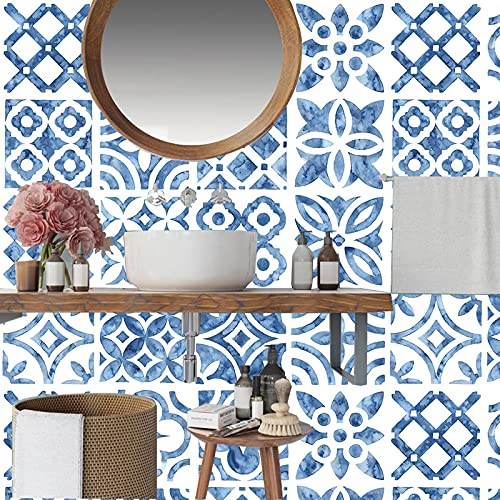 PMSMT Azulejos de Tira Azul mediterráneo Pegatinas Pared baño Cocina escaleras azulejo de cerámica pelar y Pegar PVC Arte Mural Cartel Personalizado