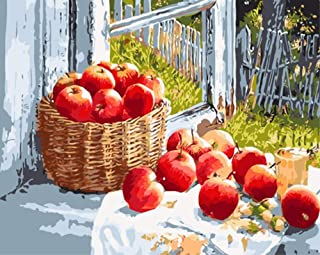 ABEUTY DIY Paint by Numbers for Adults Beginner - Red Apple by The Window Fruit & Grassland Fence 16x20 inches Number Painting Anti Stress Toys