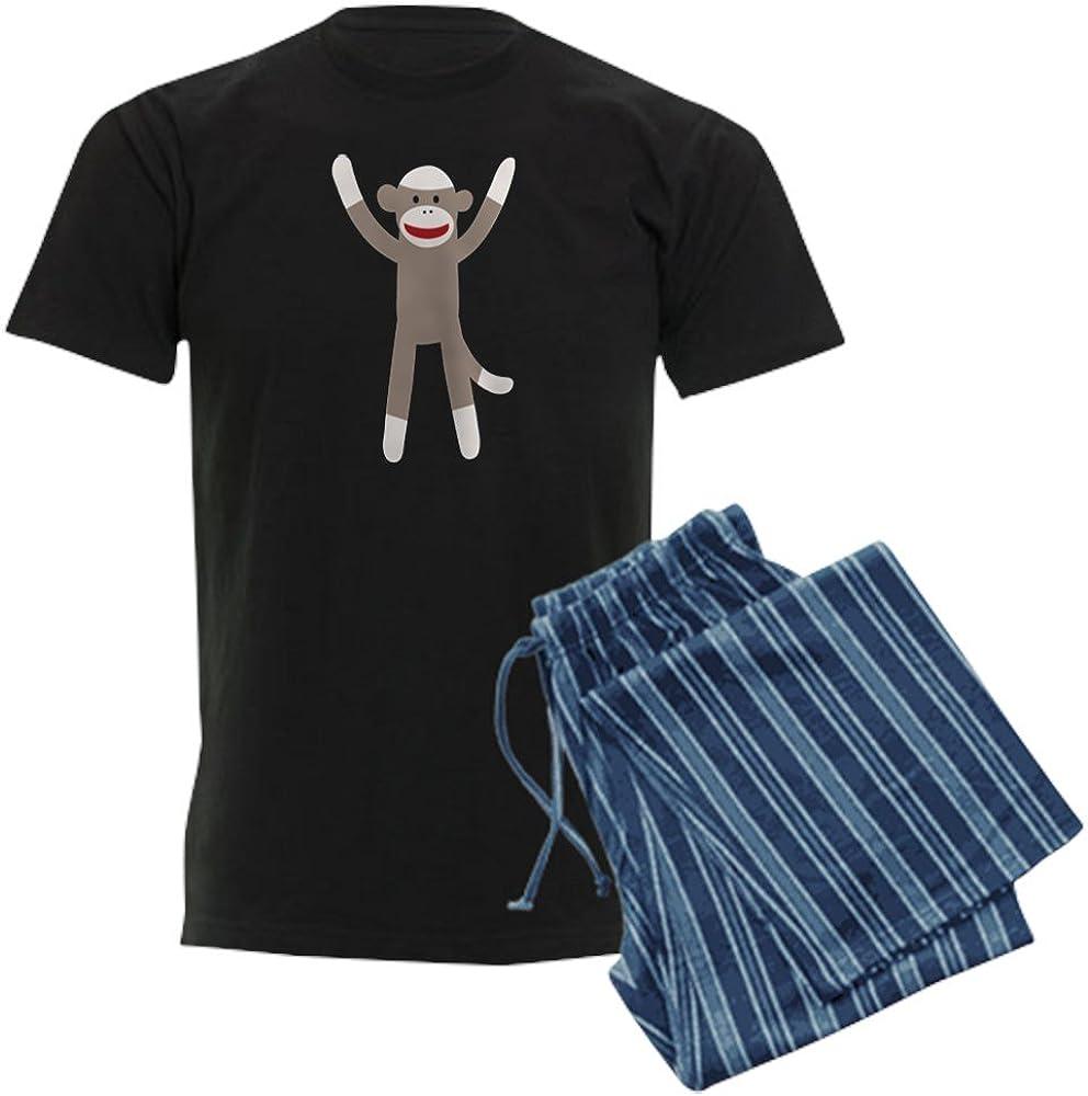 CafePress Excited Sock Monkey Men's Inventory cleanup selling sale Set Pajamas Pajama Dark Low price