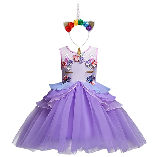 OBEEII Girls Unicorn Costume Cosplay Dress Party Outfit Fancy Princess Tutu Skirt For Festival Performance