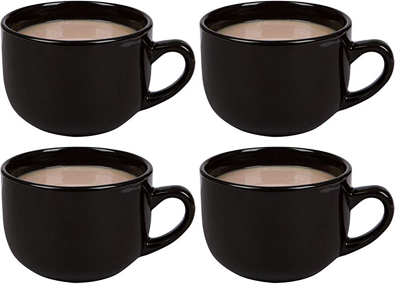 Large Jumbo Ceramic 22oz Mugs For Cappuccino Coffee Latte Cereal Ice Cream Etc Set Of 4 Black