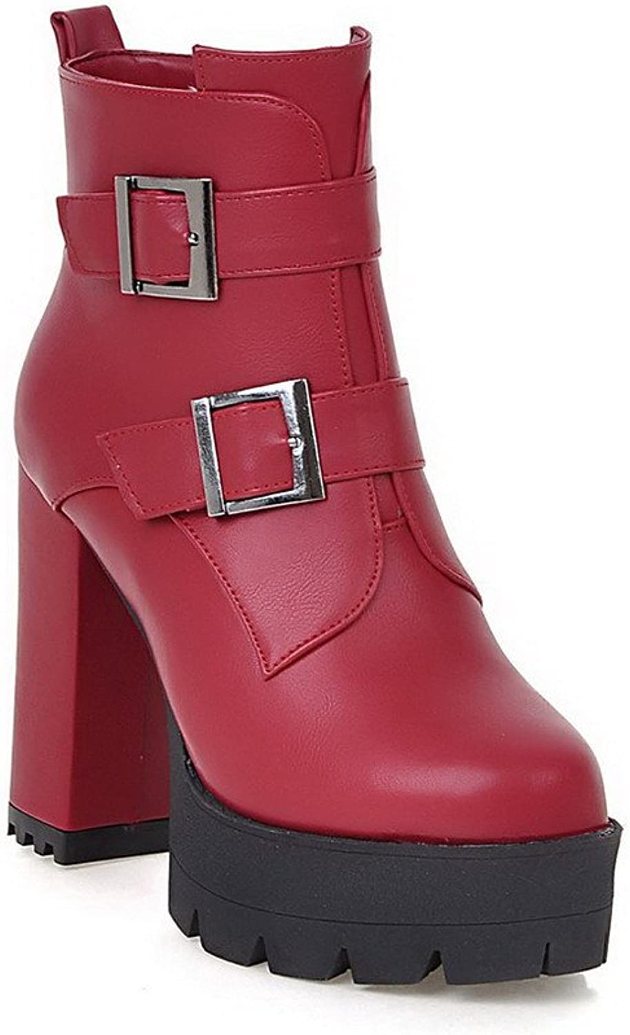 WeiPoot Women's High-Heels Solid Closed Round Toe Soft Material Zipper Boots