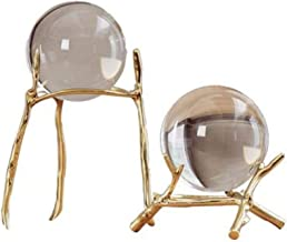 Originaliteit Woondecoratie Moderne kristalheldere kristallen bol met zuiver koperen beugel, voor decoratieve balstandbeelden