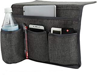 Joywell Bedside Caddy Storage Organizer with 4 Pockets for TV Remotes,Water Bottle,Magazine,Books,Cell Phone,Glasses,iPad(Gray)