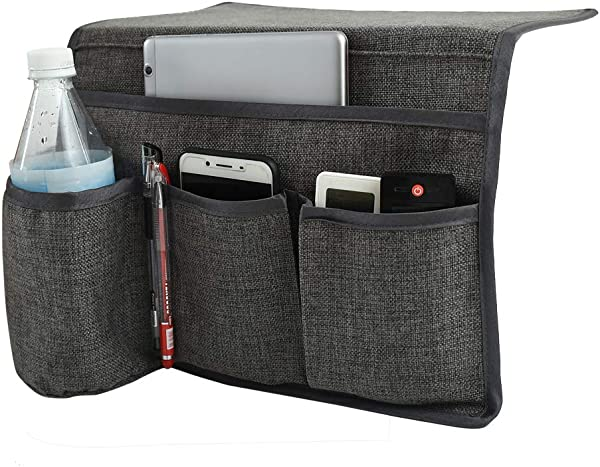Joywell Bedside Caddy Storage Organizer With 4 Pockets For TV Remotes Water Bottle Magazine Books Cell Phone Glasses IPad Gray
