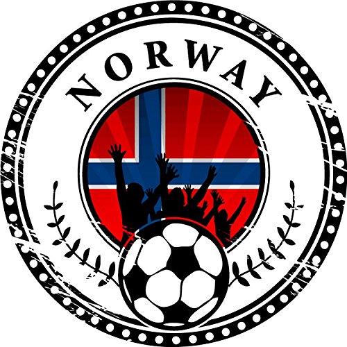 Norway Football Fans Scandinavian Soccer Sport Grunge Stamp Hochwertigen Auto-Autoaufkleber 12 x 12 cm