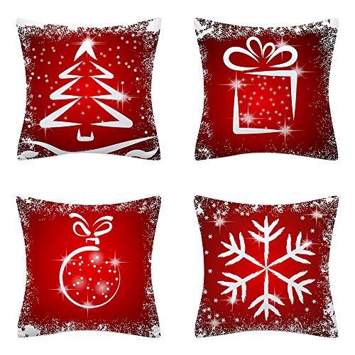AMZQJD 4 Stück Kissenbezug Weihnachten Deko Kissenhülle Baumwolle Leinen Werfen Sie Kissenbezüge (Rot-07, 40 x 40 cm)